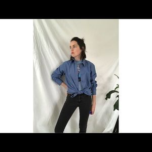 "Women's Vintage ""Denim Blue"" Button Down Top"
